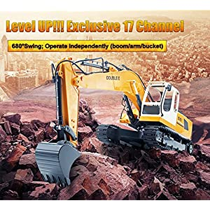 DOUBLE E 17 Channel Three in one RC Excavator Metal Shovel Remote Control Construction Tractor with 2 Bonus Drill and Grasp