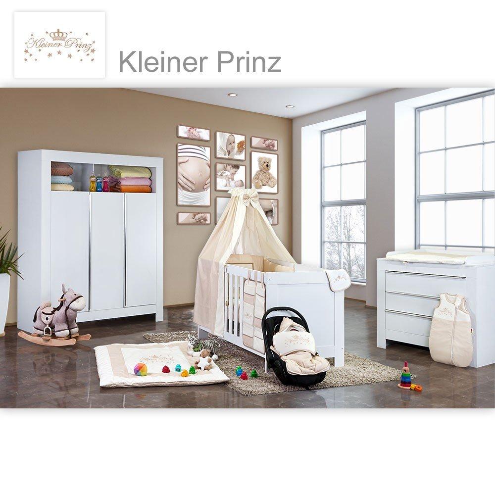 Babyzimmer Felix in weiss 21 tlg. mit 3 türigem Kl + Kleiner Prinz in Beige