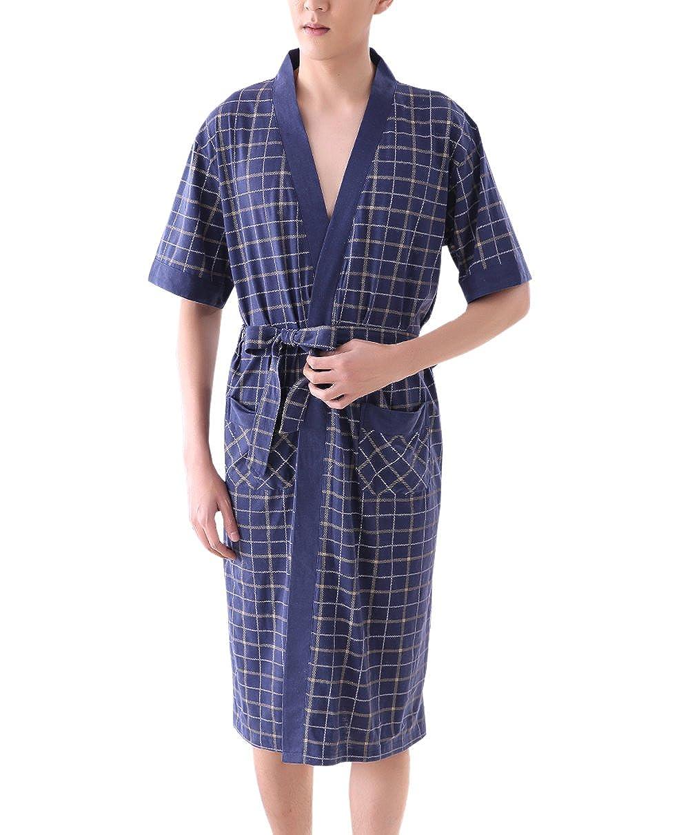 TRENDY XU Men's Sleepwear Summer Short-Sleeved Loose Cotton Bathrobes Grid Pattern