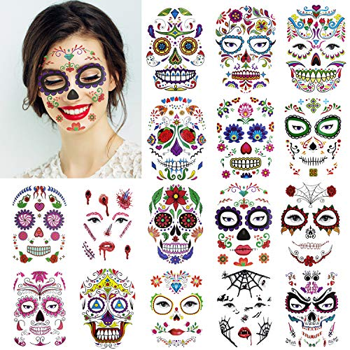 Halloween Face Tattoo Designs (16 Sheets Day of the Dead Sugar Skull Face Tattoos Rose Design Temporary Skeleton Face Tattoos Kit for Halloween Custom and)