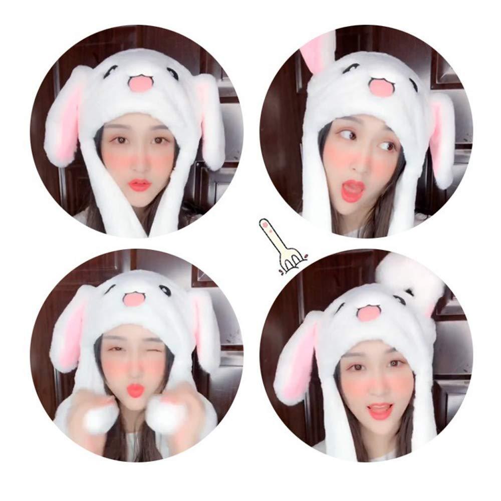 2 Pcs Cute Rabbit Hat Unisex Funny Bunny Hat With Moving Ears Plush Rabbit Hat Bunny Ears Headband Toys Fancy Dress Cosplay Rabbit Best Gift for Kids Adults Rabbit Shape + Giant Panda Shape