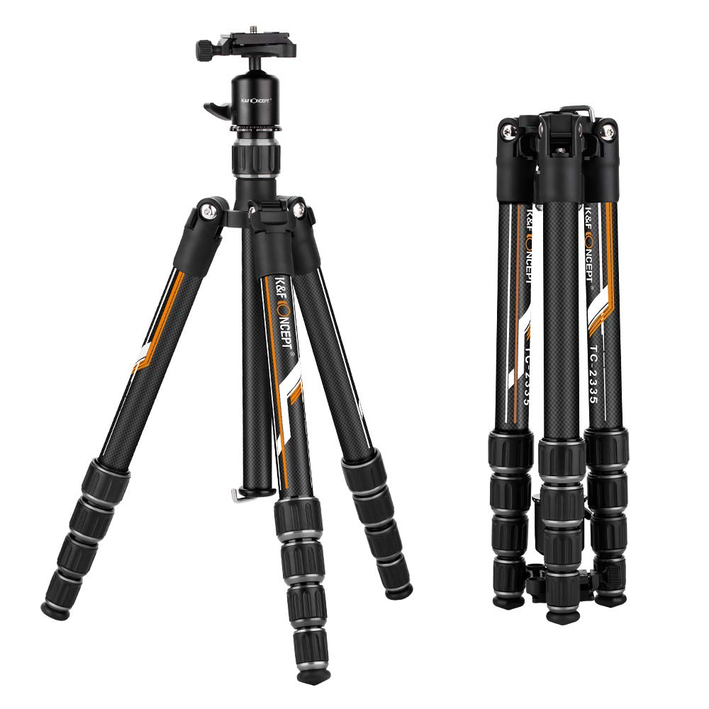 K&F Concept Professional Carbon Fiber Camera Tripod with 360 Degree Ball Head Quick Release Plate for DSLR Camera, Load up to 26.5 pounds/12 kilograms by K&F Concept