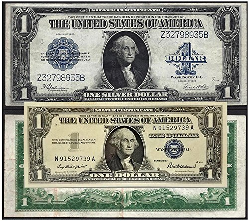 1923 2 OLD U.S. SILVER CERTIFICATES - LARGE and SMALL SIZE TOGETHER VF+ (1923)