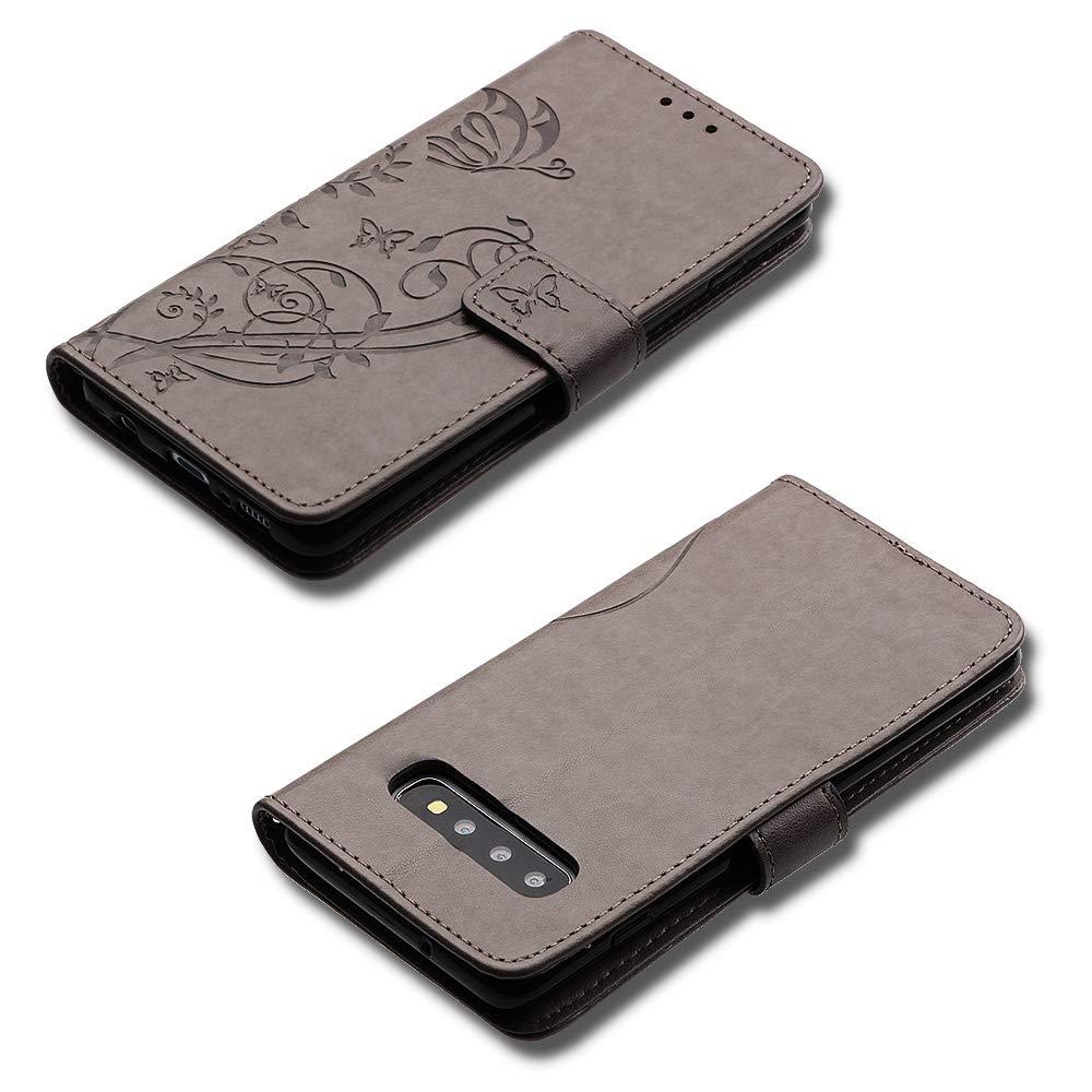 Slot per Schede Ysimee Compatibile Cover Samsung Galaxy S10 Custodie Flip Cover in PU Pelle Antiurto Cerniera Folio Libro Portafoglio Wallet Chiusura Magnetica Kickstand Supporto Caso,Rossa