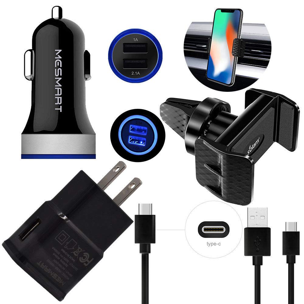Cell Phone Accessories Kits-Home Wall Adapter+Fast LED Dual USB Car Charger+Car Air Vent Holder+2X Type C USB Cable Bundle-for Samsung Galaxy S10e S10 S9 S8 Plus Active//Edge Note 8 9 GANTEC 5 in 1