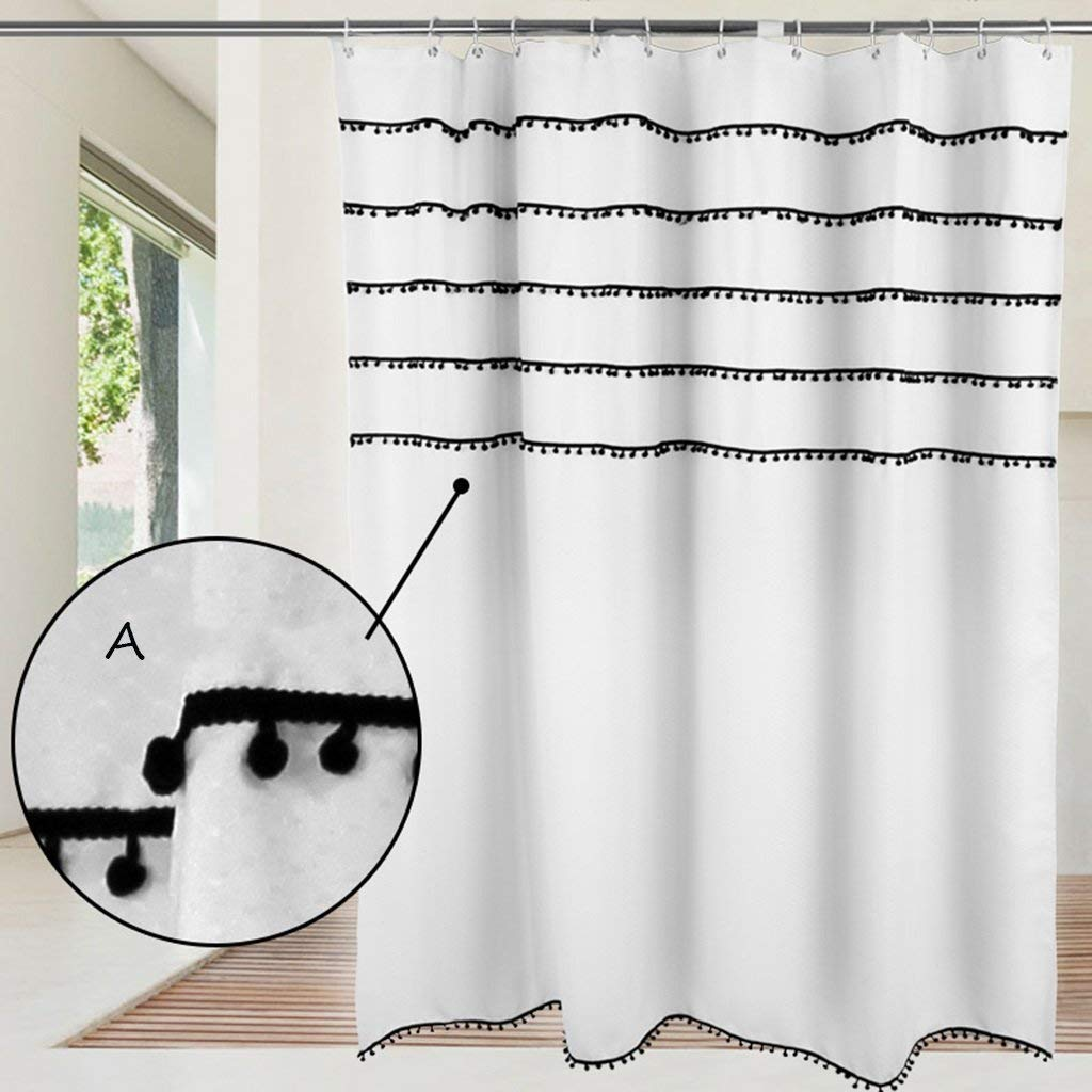 JaHGDU Shower Curtain Fringed Lace Shower Curtain Toilet Curtain Drapery Polyester Thick Waterproof and Mildew-reducing Shower Curtain (Color : 200 wide200 high)