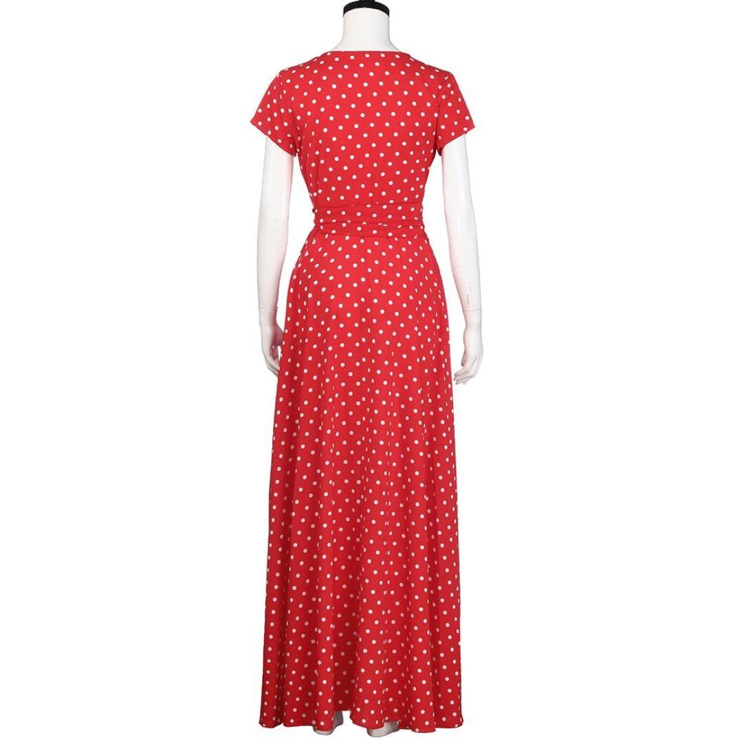 vestidos de mujer, Switchali Mujer Moda Verano Boho Largo maxi Fiesta Nocturna Cóctel Vestidos rojo casual playa vestido de fiesta para bodas (Asiático ...