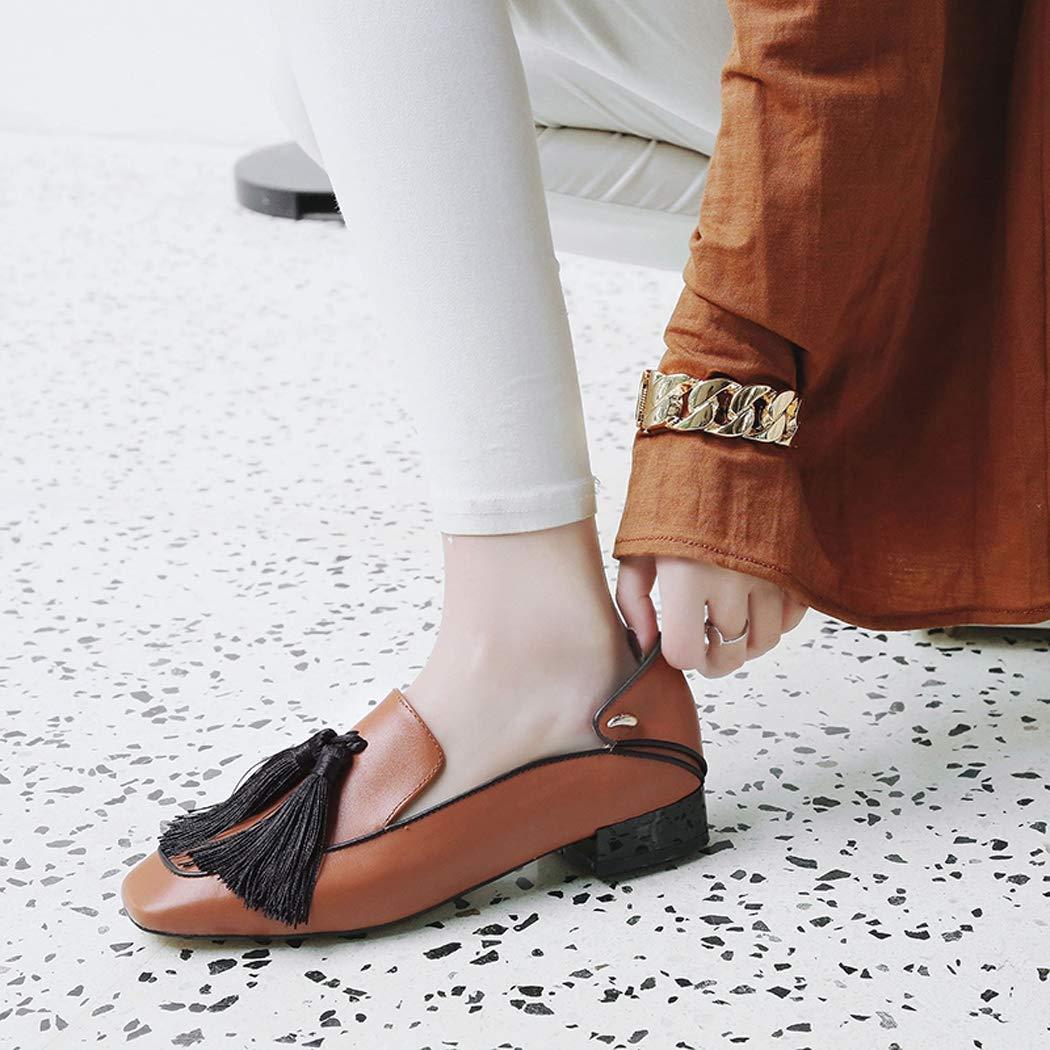 ZYN-XX Frühling und Herbst Frauen Frauen Frauen Flache Schuhe Außerhalb Leder Quasten Niedrige Ferse Starke Ferse Schuhe Business Casual Arbeit Schuhe Quadratische Kopf Wasser Gefärbte Faule Schuhe  229b0f