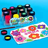 Water Resistant Fabric Paint, 12 Assorted Colours 18ml Pots, for Children's Painting & Fabric Crafts (Pack of 12)