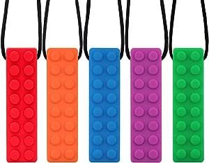 Novelfun Collar de masticación sensorial, paquete de 5, masticación de silicona, entrenamiento y desarrollo Fidget,juguete,masticar,collar,para bebés de dentición, autismo TDAH SPD,motor oral,ansiedad
