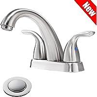 PHIESTINA Brushed Nickel Stainless Steel Bathroom Lavatory Vanity Basin Vessel Sink Faucet, Brushed Nickel Bathroom Faucet With Copper Pop Up Drain, BF008-5-BN
