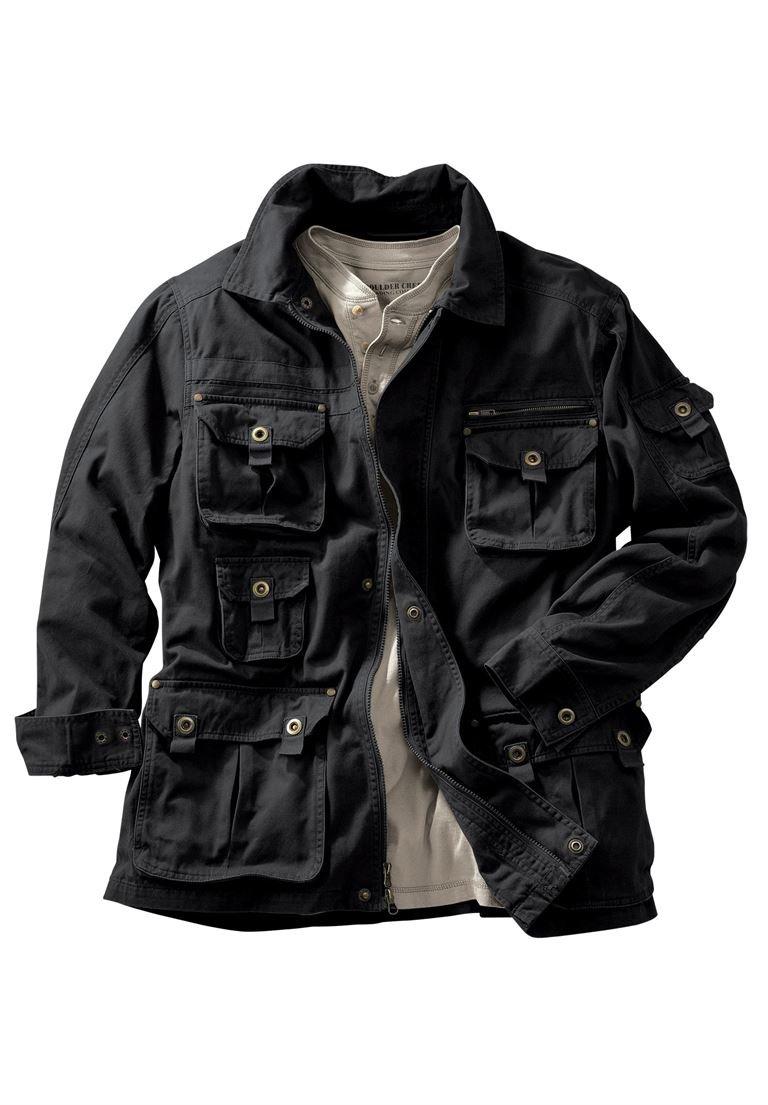 Boulder Creek Men's Big & Tall Multi-Pocket Jacket, Black Big-4Xl