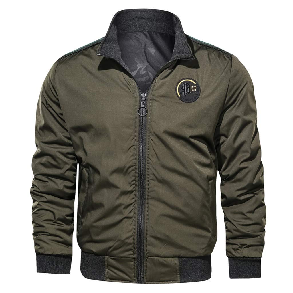 Opinionated Men's Autumn Winter Casual Pure Color Two-Sided Wear Breathable Jacket Coat Long Sleeve Zip Coat Army Green by Opinionated