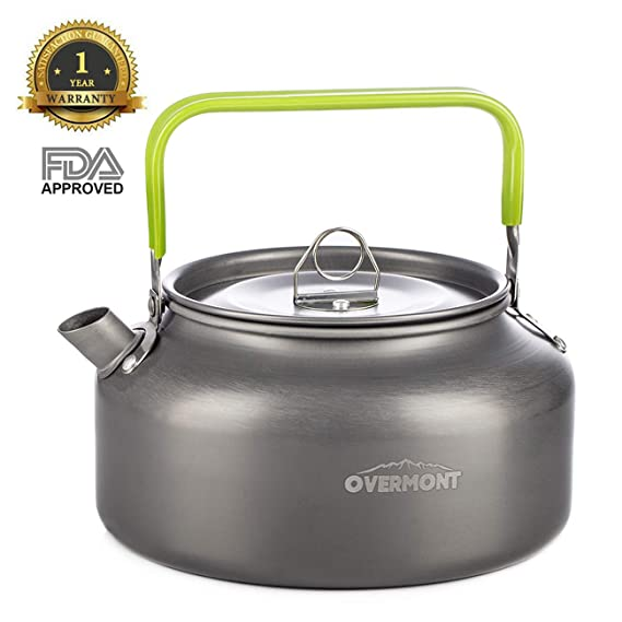 Overmont Tragbar Aluminium Camping Wasserkocher Kessel Teekanne Kaffeekanne FDA genehmigt für Outdoor Picknick Wandern 1,2I