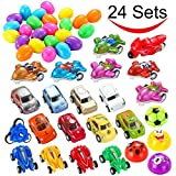 "Toys : 24 PCs Filled Easter Eggs with Toy Cars, 2.25"" Bright Colorful Surprise Eggs Prefilled with Various Pull Back Vehicles and Friction Vehicles for Easter Basket Stuffers, Egg Hunt Party by Joyin Toy"