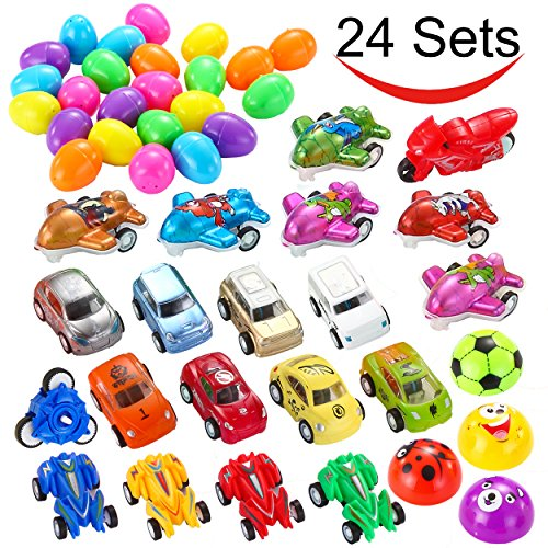 "Price comparison product image 24 PCs Filled Easter Eggs with Toy Cars, 2.25"" Bright Colorful Surprise Eggs Prefilled with Various Pull Back Vehicles and Friction Vehicles for Easter Basket Stuffers, Egg Hunt Party by Joyin Toy"