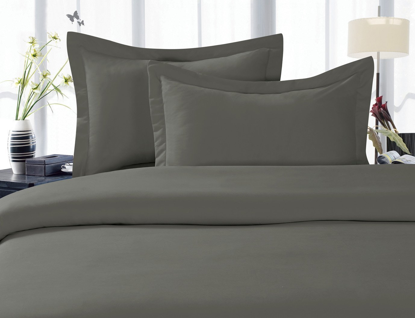 Elegant Comfort 1500 Thread Count Wrinkle,Fade and Stain Resistant 4-Piece Bed Sheet set Full Grey