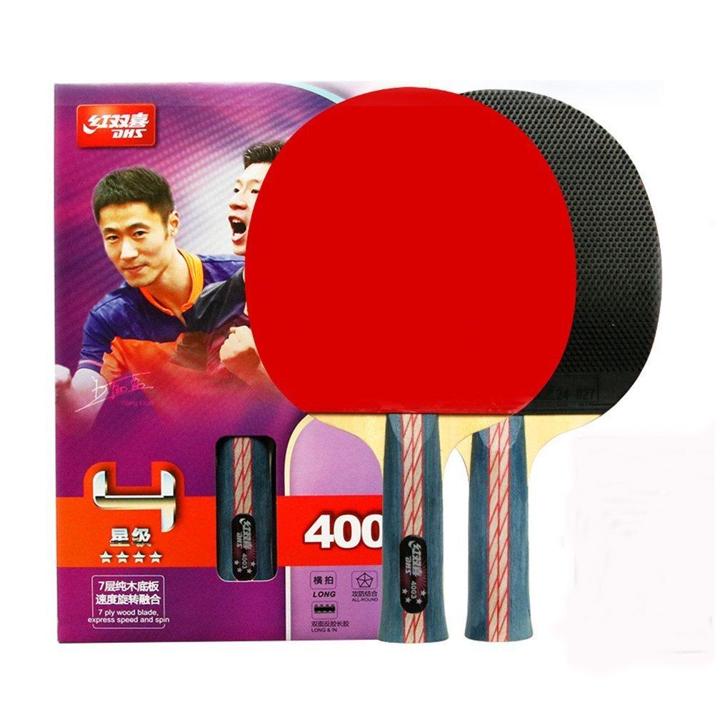 4-Star Table Tennis Racket Ping Pong Paddle 4003 (Long-handle) Bats Shake-hands Grip DHS