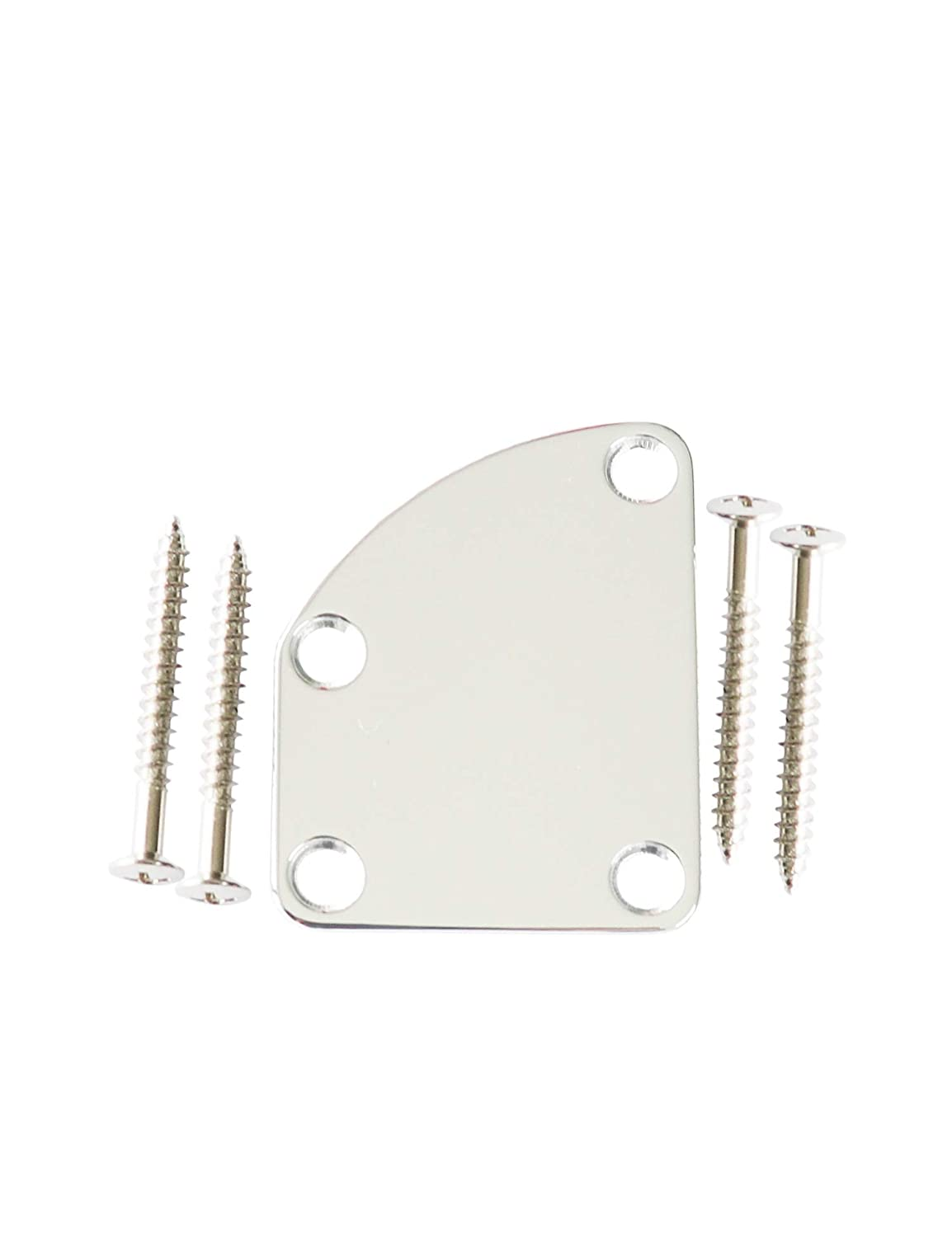 Metallor Electric Guitar Neck Plate Curved Cutaway Semi Round Neck Joint Back Mounting Plate 4 Holes with Screws Compatible with Stratocaster Telecaster Style Guitar Bass Parts Replacement