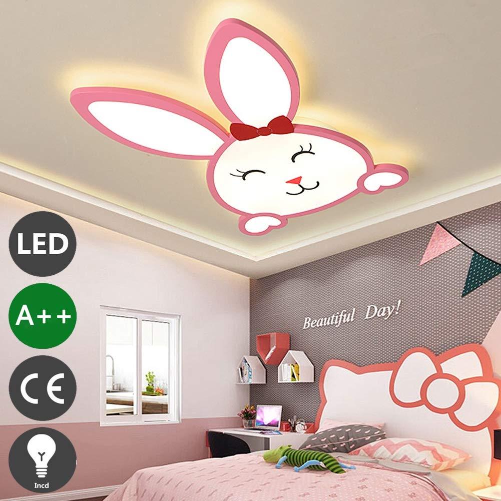 37*H4cm 46w,B LED M/ädchen Junge Schlafzimmer Deckenlampe Kinderzimmerlampe Deckenleuchte Dimmbare Warmwei/ß Licht Wandleuchte Kinderzimmer Pink Kaninchen Decke Leuchte Wohnzimmer Esszimmer Lampe 55