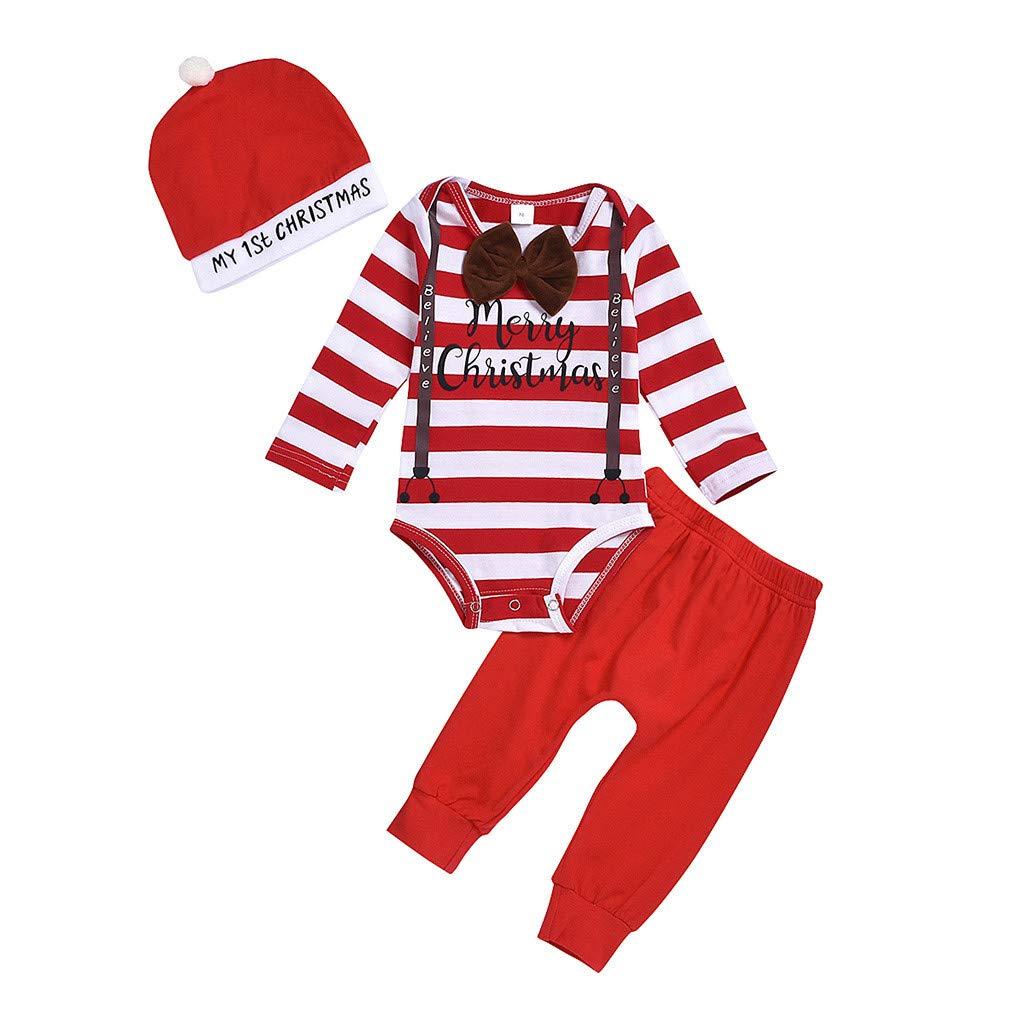 Weihnachtsm/ütze Weihnachts Kinderkleidung Prinzessin Rot Freizeit Kost/üm Xmas Baby Newborn Neugeborenes M/ädchen 3-teilig Outfits Frohe Weihnachten Drucken Spielanzug Overall Sport Hosen