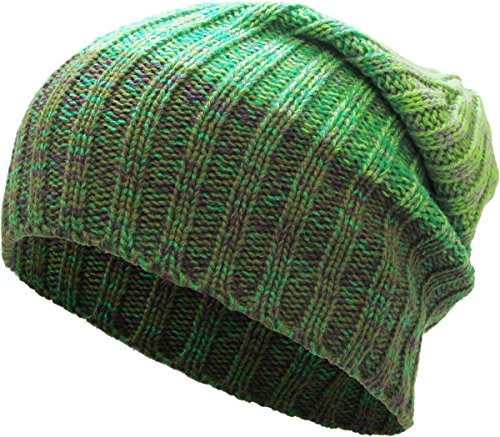 (KBETHOS Comfortbale Soft Slouchy Beanie Collection Winter Ski Baggy Hat Unisex Various Styles (One Size Fits Most, Heather Stripe Slouch Green))