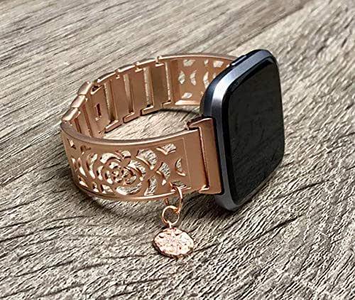 Amazon.com: Brushed Rose Gold Metal Bracelet For Fitbit