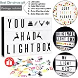 Mini LED Cinema Light Box - Doingart Cinematic Light Box include 345 Changeable Letters with Emoji Symbols and Numbers DIY Marquee Signs for Home and Wedding Decor (USB or Battery Powered)
