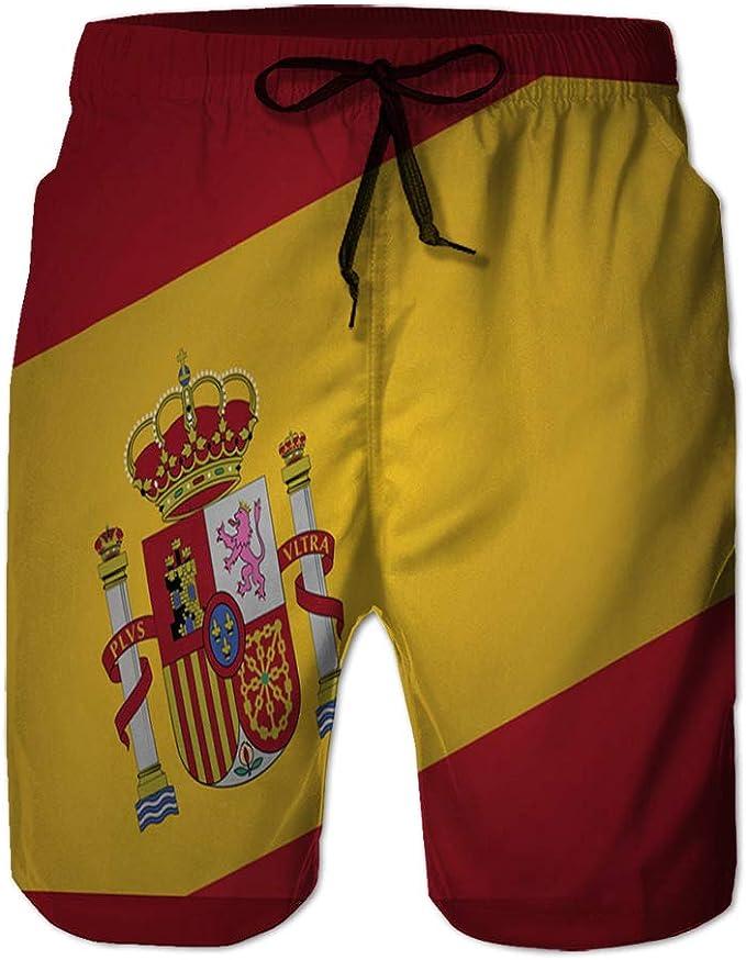 jiilwkie 244 Shorts de Playa para Hombre, bañador, bañador con Bandera de españa: Amazon.es: Ropa y accesorios