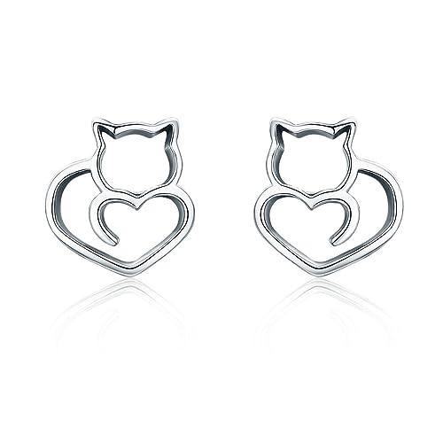 b7871c738 BAMOER 925 Sterling Silver Cat Earrings Cute Kitty Stud Earrings for Women  Girls for Her Style 2: Amazon.ca: Jewelry