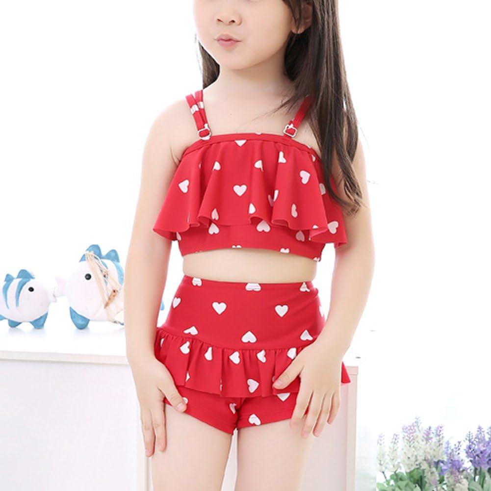 Little Gilrs Lovely Flounced Skirt-style Split 2ps Swimwear