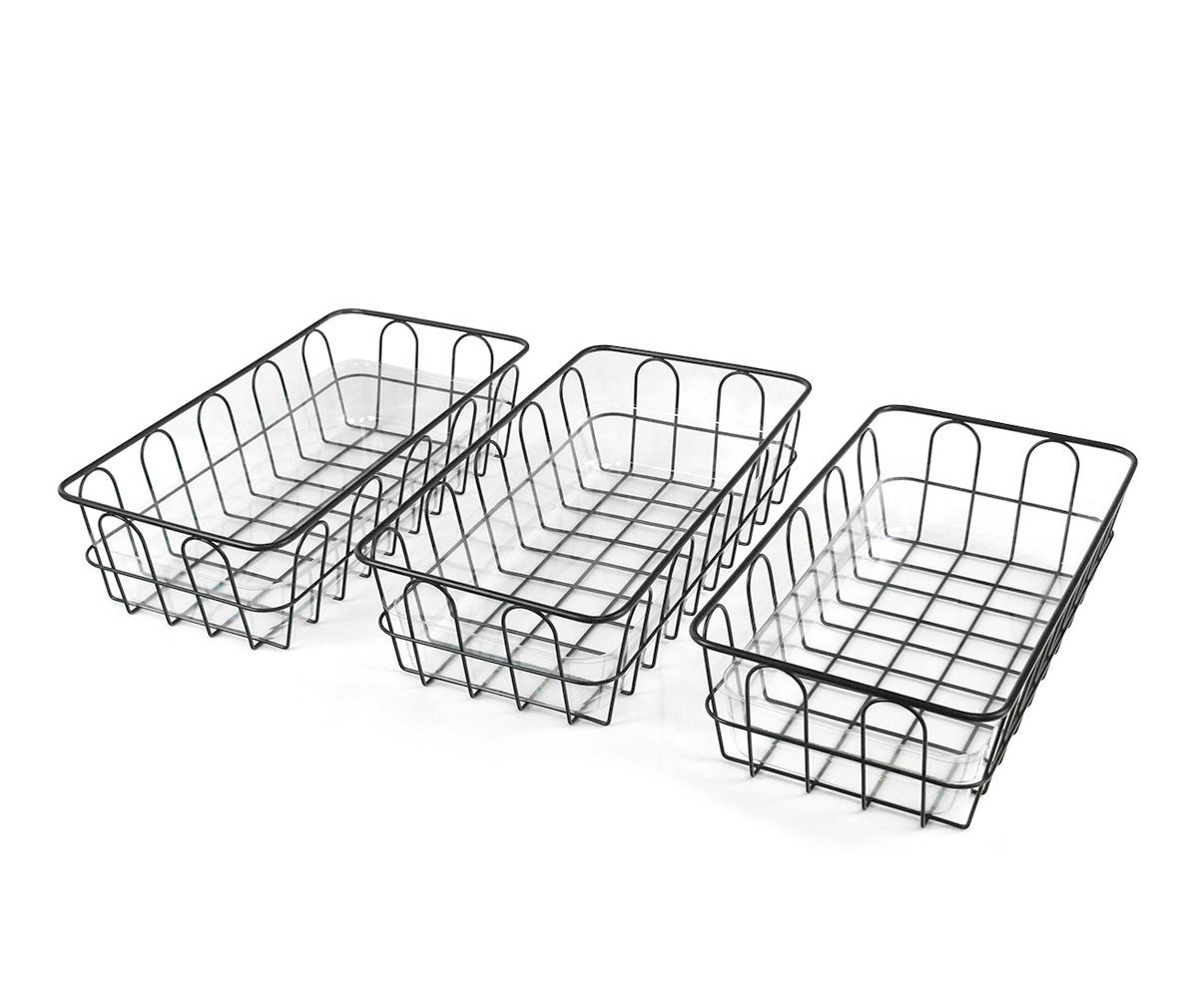 Set of 3 Wire Bread Fruit Basket with Food-Grade Transparent Plastic Tray, Black ShiYuan HCH-BRD-3P