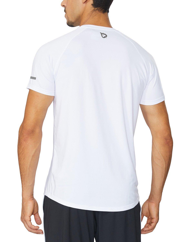 Baleaf Men's Quick Dry Short Sleeve T-Shirt Running Fitness Shirts White Size M by Baleaf (Image #3)