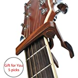 Guitar Capo (Free 5 Picks 6-String Acoustic and Electric Guitars Trigger Capo Quick Change Guitar Capo,Rosewood Color