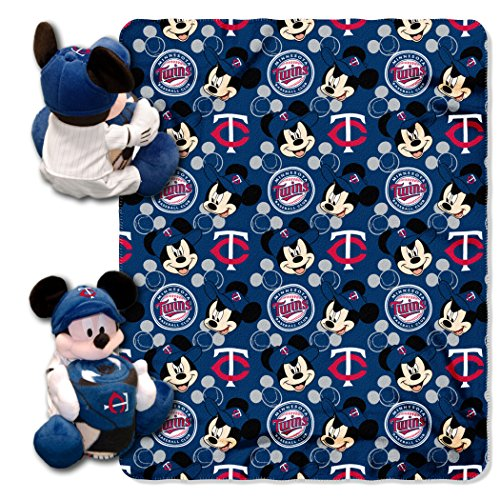 (Officially Licensed MLB Minnesota Twins Pitch Crazy Co-Branded Disney's Mickey Hugger and Fleece Throw Set)