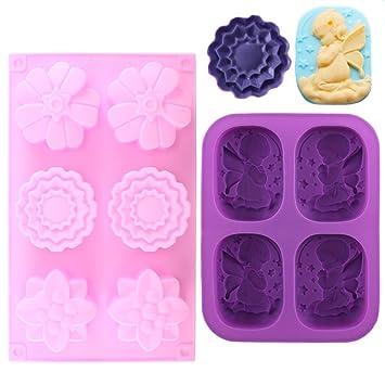 LULUNA 2pcs Molde de silicona para hecho a mano de jabón moldes de jabón de bebe angeles y flores manualidades para regalo niños cumpleaños: Amazon.es: ...