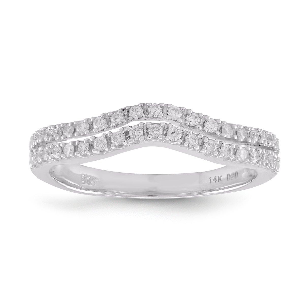 Diamond2Deal Diamond Wedding Band Ring for Women in 14K White Gold 0.25cttw (7)