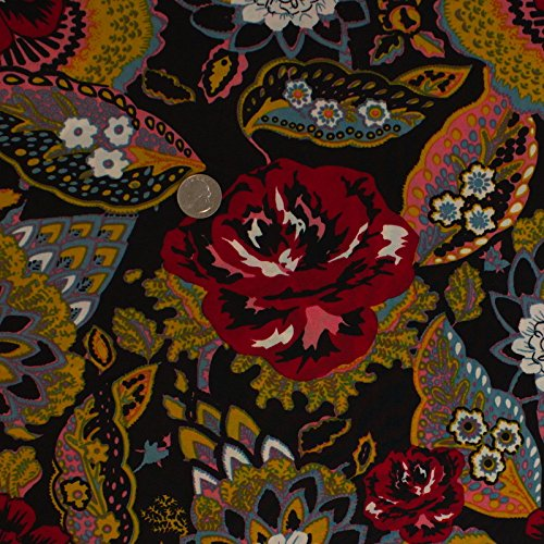 Jersey Knit Print Fabric - Exotic Garden Stretch Jersey Knit FDY Print Black Red Fabric