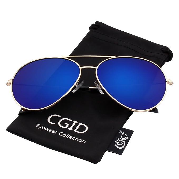 CGID MJ89 Lente Antirreflejante Completo Pilot Polarizado UV404 Gafas de Sol con Diseño de Moda Retro Para Hombre y Para Mujer, Dorado Azul: Amazon.es: Ropa ...