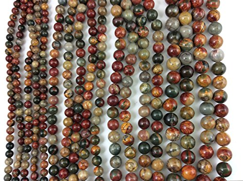 Natural Red Creek(Picasso) Jasper 6mm Round Bead, Full Strand G01037 (Jasper Red Creek)