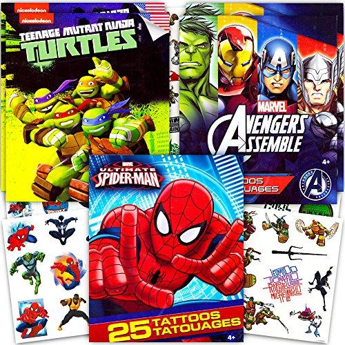 Super Hero Party Supplies Set -- 125 Temporary Tattoos Featuring Marvel Avengers, Spiderman and Teenage Mutant Ninja (Tattoos Superheroes)