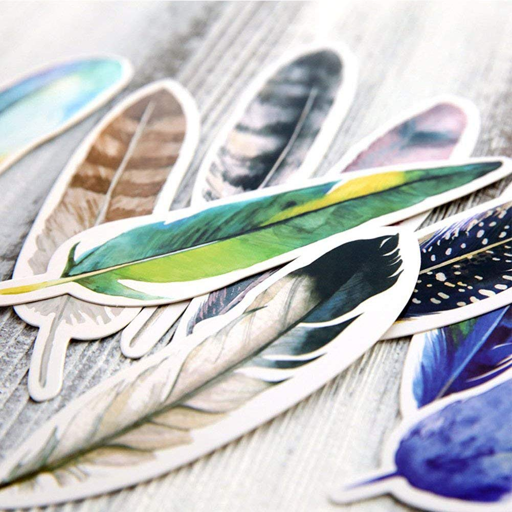 Koogel 60 Pcs Feather Bookmarks Colorful Feather Shape Paper Bookmarks for Reading