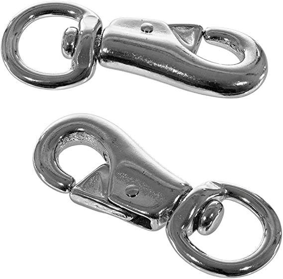 0.75 Inch for 0.5 Inch Stainless Steel Trigger Spring and 1 Inch Rope 2-Pack of 7//8 Inch Round Swivel Bull Snap Nickel-Plated Rope Snaps