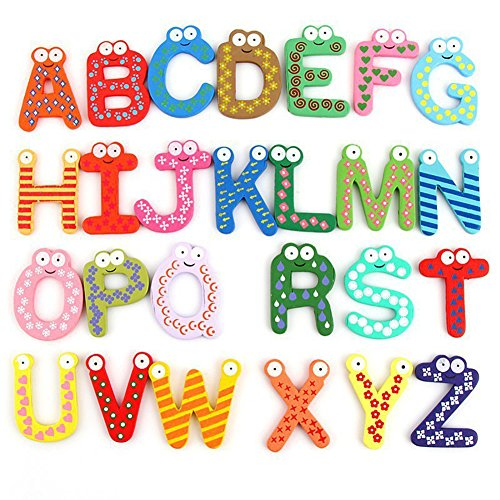 Az Capital Letters (Wenasi 26 Capital Letters Fridge Magnet Wooden & Magnetic Stickers Baby Educational Toy for Kids)