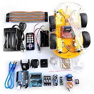 Crenova Robot Car Kit for Arduino, 4 Wheel Bluetooth Utility Vehicle Intelligent Robotics L298N Motor Driver Robot Smart Car kit