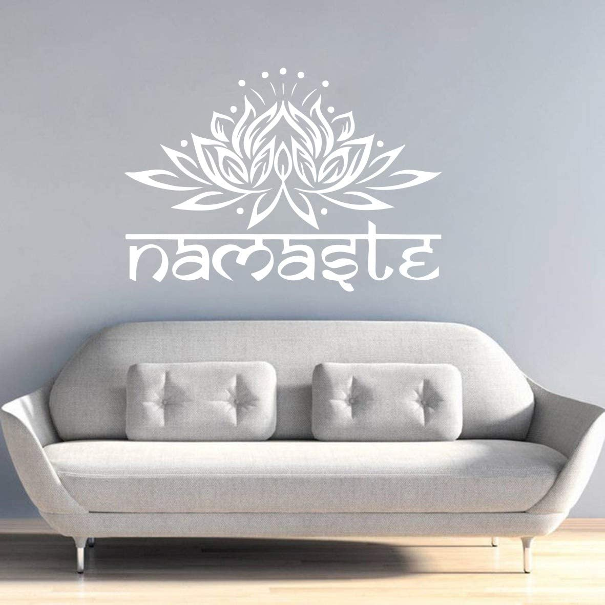 Amazon Com Home Decoration Lotus Flower Wall Sticker Yoga Studio Namaste Om Mandala Meditation Wall Decor Home Living Room Bedroom Wall Art Sticker Yoga Room Decor Mural Syy714 White Arts Crafts Sewing