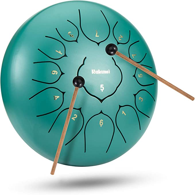 8 Inch 8 Note Steel Tongue Drum Percussion Instrument Lotus Hand Pan Drum with Drum Mallets Carry Bag