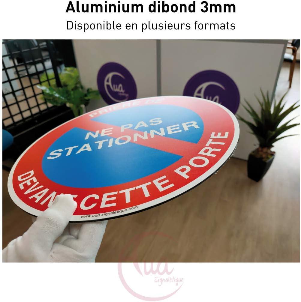AUA SIGNALETIQUE Aluminium Dibond 3mm /Ø 130 mm Panneau propri/ét/é priv/ée Attention au Chien