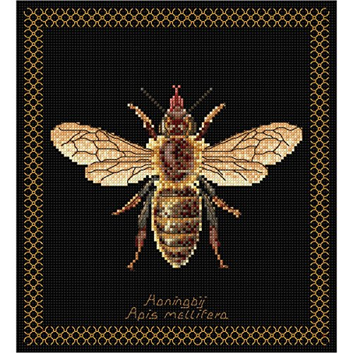 18k Honey - Thea Gouverneur 18 Count Honey Bee on Aida Counted Cross Stitch Kit, 8 x 8.25