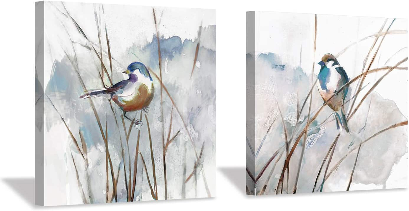 "Abstract Picture Bird Wall Art: Animal Birds on Reed Watercolor Artwork Painting on Canvas for Bedroom (12"" x 12"" x 2 Panels)"